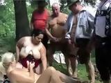 German Mature Group Having Orgy In Woods