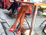 her Sexy sitting upskirt, sexy legs feets toes