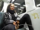 Crazy brunette piss in the train