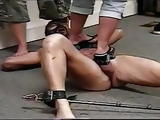 Slave beaten and stomped by male and female dom couple