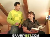 Guy picks up big tits bookworm mature for play