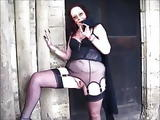 Very hot old woman flashing in lingerie